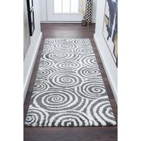 Alise Rugs Silken Shag Contemporary Geometric Runner Rug