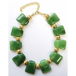 Kenneth Jay Lane Carved Polished Gold Bead with Resin Jade Necklace