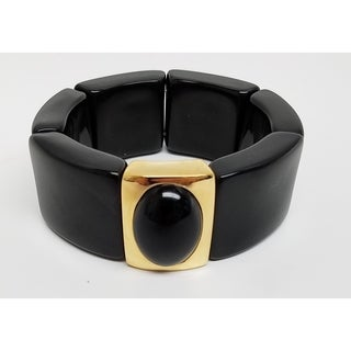 Kenneth Jay Lane Polished Gold Black with Black Center Stretch Resin Bracelet