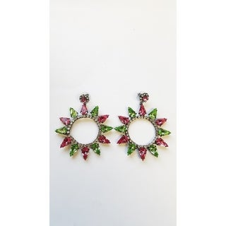 Kenneth Jay Lane Gunmetal with Faceted Glass Pink and Peridot Spike Earring