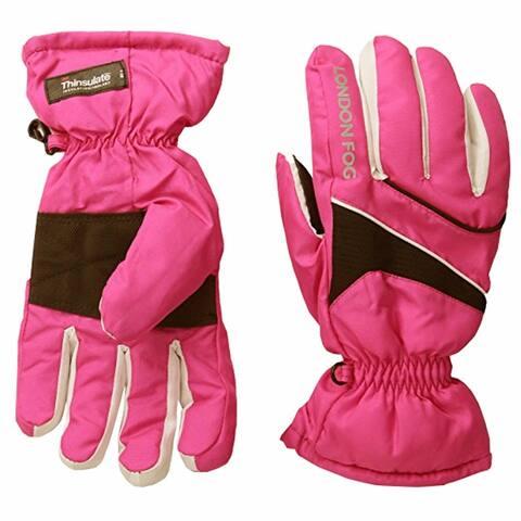 London Fog Girls Thinsulate Lined Waterproof Ski Gloves Pink