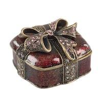 Bejeweled Christmas Present Decorative Trinket Box