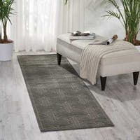 Kelly Ripa Home Interlock Dark Grey Area Rug by Nourison - 2'3 X 8'