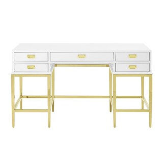 Contemporary Goldtone/White Stainless Steel/Antique Glass 5-drawer Accent Desk