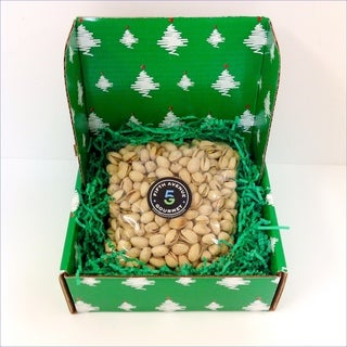 2lbs of Colossal Pistachios in a Decorative Holiday Box.