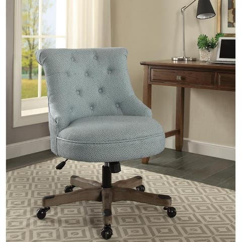 Bond Light Blue Fabric Grey Wash Wood Base Office Chair