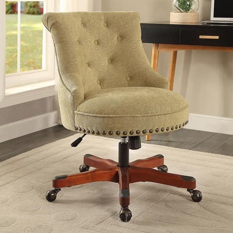 Bond Office Chair Green - Dark Walnut Wood Base