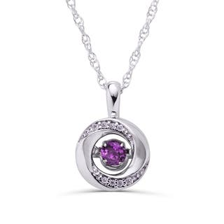 Boston Bay Diamonds Sterling Silver 3/8 Tgw. Amethyst February Birthstone & .03ct TDW Diamond Knot Pendant Necklace (Option: White)|https://ak1.ostkcdn.com/images/products/17981666/P24155785.jpg?impolicy=medium