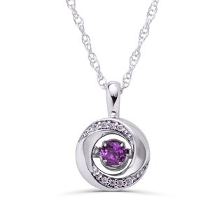 Boston Bay Diamonds Sterling Silver 3/8 Tgw. Amethyst February Birthstone & .03ct TDW Diamond Knot Pendant Necklace