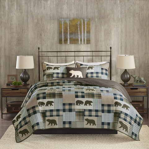 Woolrich Twin Falls Brown/ Blue Oversized Printed Quilt Set