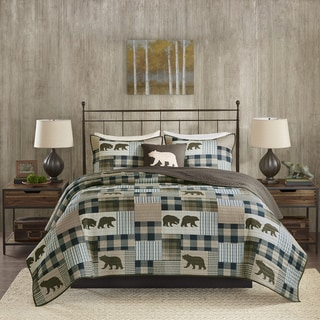 Link to Woolrich Twin Falls Brown/ Blue Oversized Printed Quilt Set Similar Items in Quilts & Coverlets