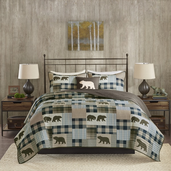 Incroyable Woolrich Twin Falls Brown/ Blue Oversized Printed Quilt Set