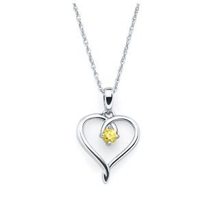 "Boston Bay Diamonds Sterling Silver Birthstone Heart Pendant Necklace, 18"" (Option: November - Orange - Citrine)"