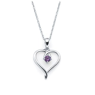 Boston Bay Diamonds Sterling Silver Amethyst February Birthstone Heart Pendant Necklace, 18""