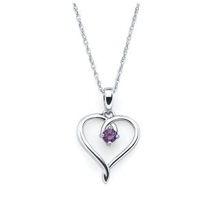Boston Bay Diamonds Sterling Silver Birthstone Heart Pendant Necklace, 18""