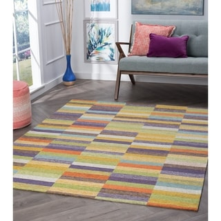 Alise Rugs Drayton Colorblock Multicolored Acrylic Chenille Area Rug (3'3 x 5')