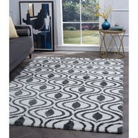 Alise Rugs Silken Shag Contemporary Geometric Area Rug - 3'11 x 5'3