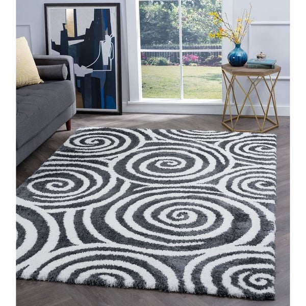 Alise Rugs Silken Shag Contemporary Geometric Area Rug
