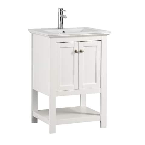 "Fresca Manchester 24"" White Traditional Bathroom Vanity"