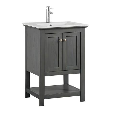 "Fresca Manchester Regal 24"" Gray Wood Veneer Traditional Bathroom Vanity"