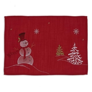 Snowman Embroidered Placemat Set of 6