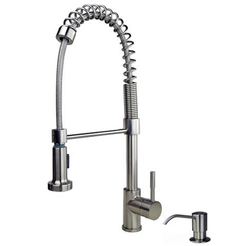 "Builders Shoppe 1131 Contemporary Single Handle 21"" Spring Pull-Down Kitchen Faucet with Soap/Lotion Dispenser"