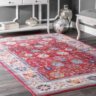 nuLOOM Traditional Classic Tinted Radiant Floral Vine Border Red Rug (4' x 6') - 4' x 6'