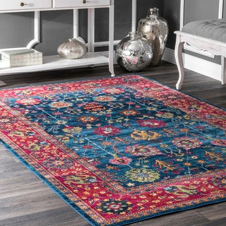 nuLOOM Traditional Classic Tinted Radiant Floral Vine Border Rug (5'3 x 7'7)