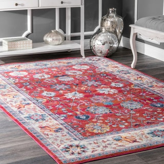 nuLOOM Traditional Classic Tinted Radiant Floral Vine Border Red Rug (5'3 x 7'7)
