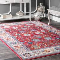 nuLOOM Traditional Classic Tinted Radiant Floral Vine Border Red Rug - 5'3 x 7'7