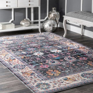 nuLOOM Traditional Classic Tinted Radiant Floral Vine Border Grey Rug (5'3 x 7'7)