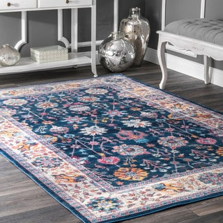 nuLOOM Traditional Classic Tinted Radiant Floral Vine Border Blue Rug (5'3 x 7'7)