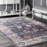 nuLOOM Traditional Classic Tinted Radiant Floral Vine Border Grey Rug (9' x 12') - 9' x 12'