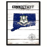 Connecticut State Vintage Flag Canvas Print Picture Frame Home Decor Wall Art