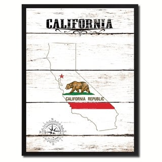 California State Vintage Flag Canvas Print Picture Frame Home Decor Wall Art