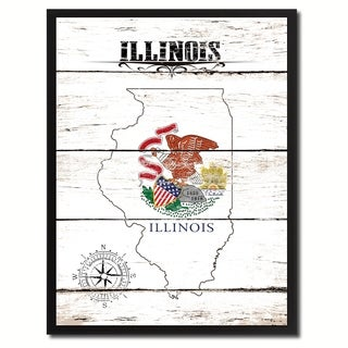 Illinois State Vintage Flag Canvas Print Picture Frame Home Decor Wall Art