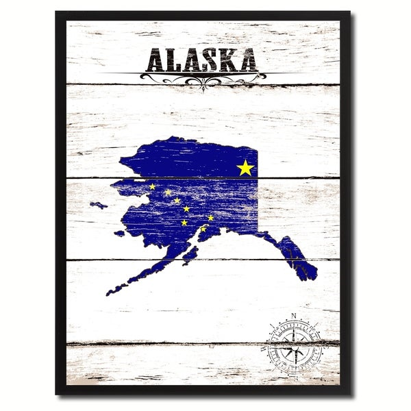 Cool Shop Alaska State Vintage Flag Canvas Print Picture Frame Home Interior And Landscaping Ologienasavecom