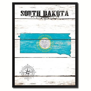 South Dakota State Vintage Flag Canvas Print Picture Frame Home Decor Wall Art