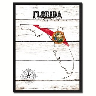 Florida State Vintage Flag Canvas Print Picture Frame Home Decor Wall Art