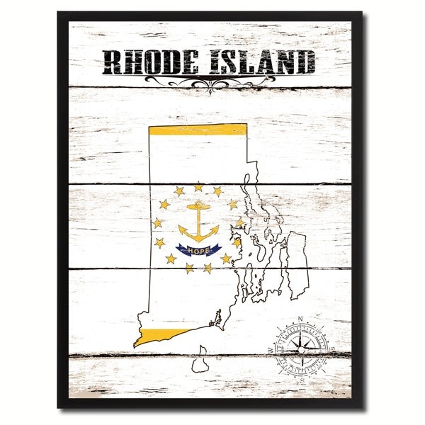 Shop Rhode Island State Vintage Flag Canvas Print Picture Frame Home ...