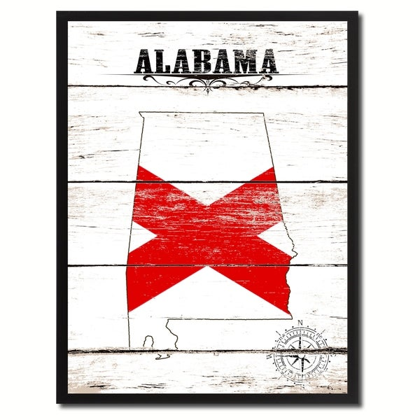 Alabama State Vintage Flag Canvas Print Picture Frame Home Decor Wall Art
