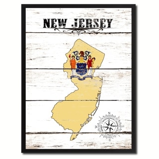 New Jersey State Vintage Flag Canvas Print Picture Frame Home Decor Wall Art