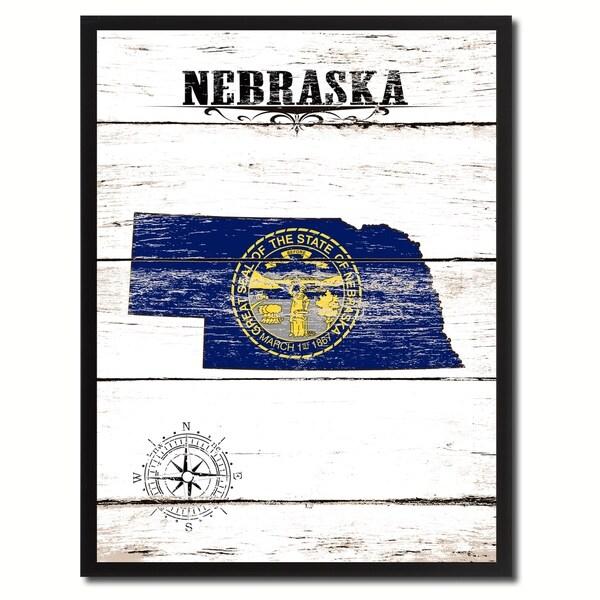 shop nebraska state vintage flag canvas print frame home decor wall