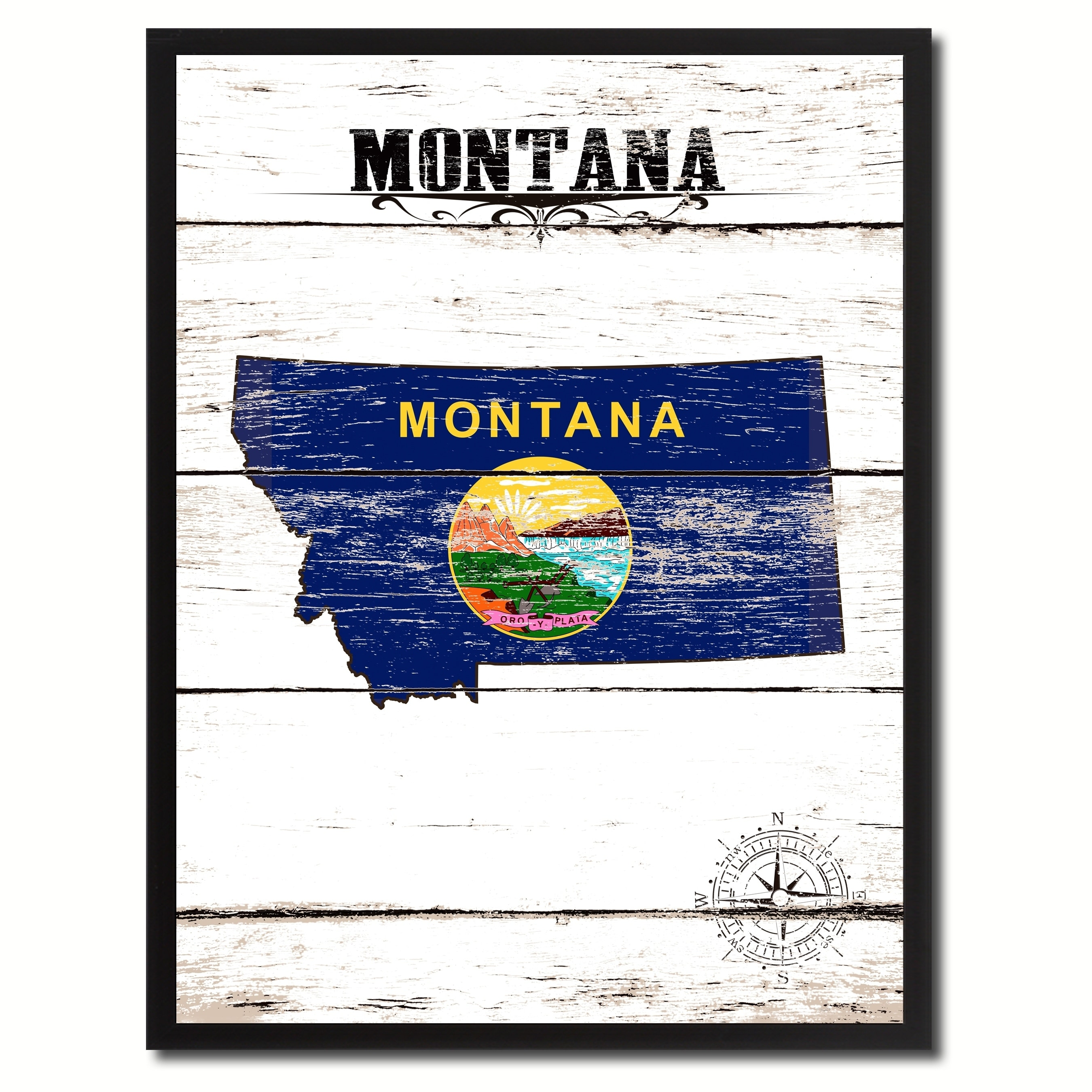 Montana State Vintage Flag Canvas Print Picture Frame Home Decor Wall Art Overstock 17982200