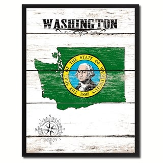 Washington State Vintage Flag Canvas Print Picture Frame Home Decor Wall Art