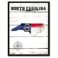 North Carolina State Vintage Flag Canvas Print Picture Frame Home Decor Wall Art