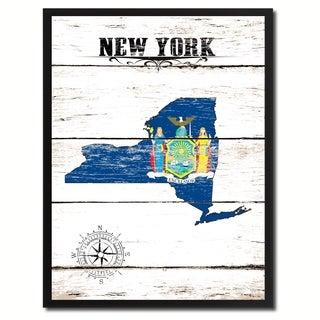 New York State Vintage Flag Canvas Print Picture Frame Home Decor Wall Art