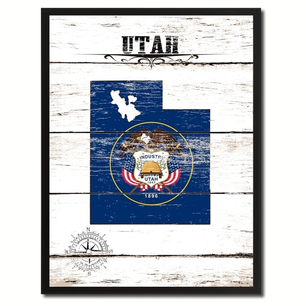 Utah State Vintage Flag Canvas Print Picture Frame Home Decor Wall Art