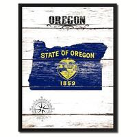 Oregon State Vintage Flag Canvas Print Picture Frame Home Decor Wall Art