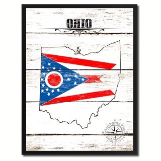 Ohio State Vintage Flag Canvas Print Picture Frame Home Decor Wall Art